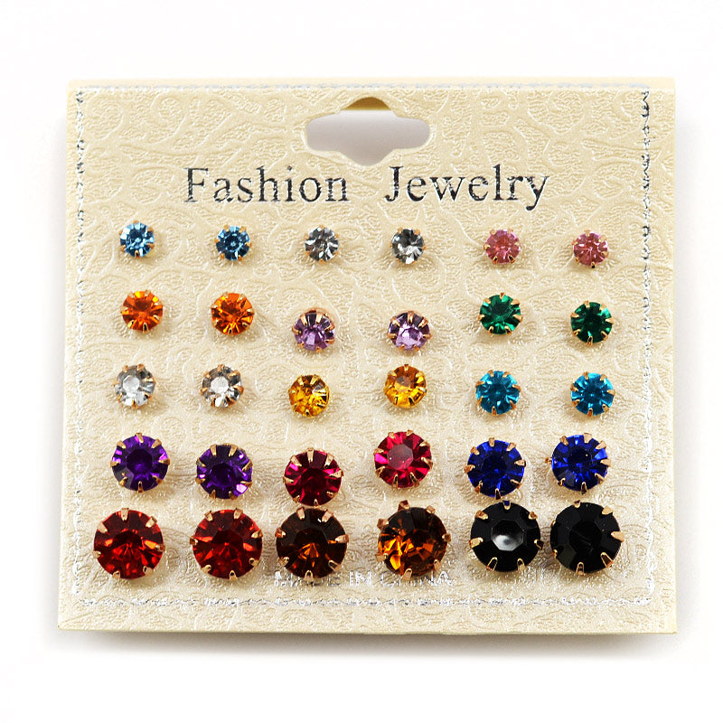 15-Pair Color Rhinestone Stud Set (#2554)