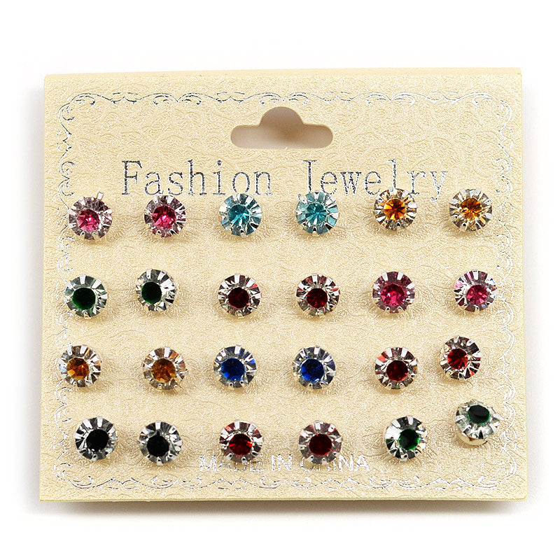 12-Pair Color Rhinestone Stud Set (#2557)
