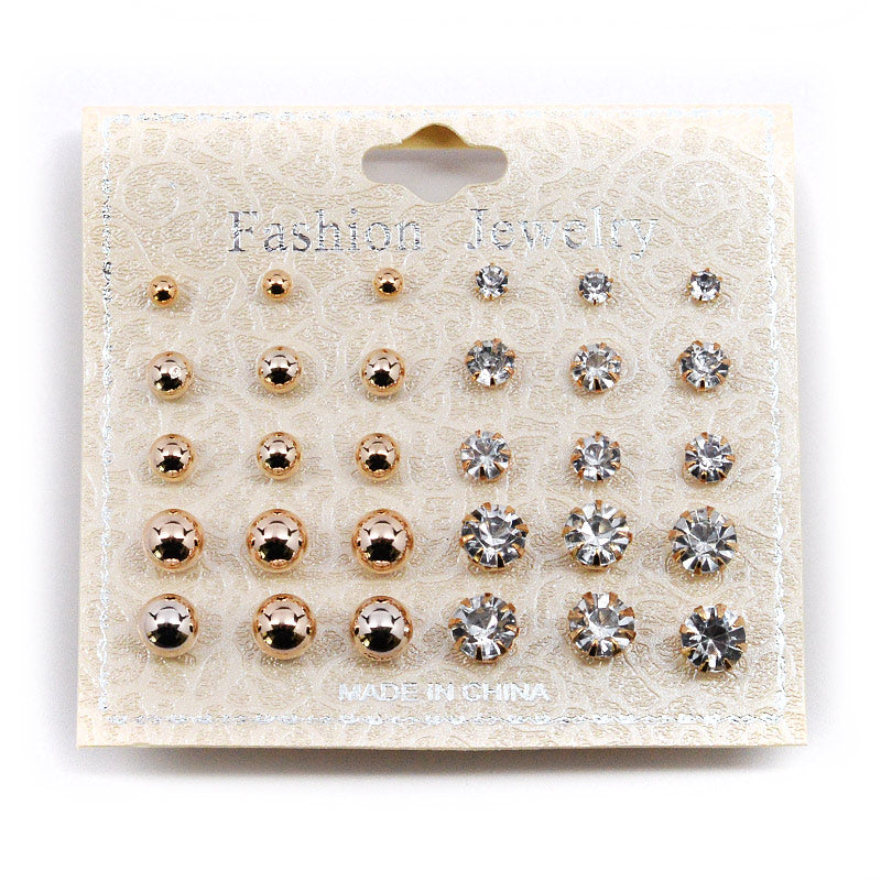 Ball and Rhinestone Stud Earrings - 30 Pcs (#2559)