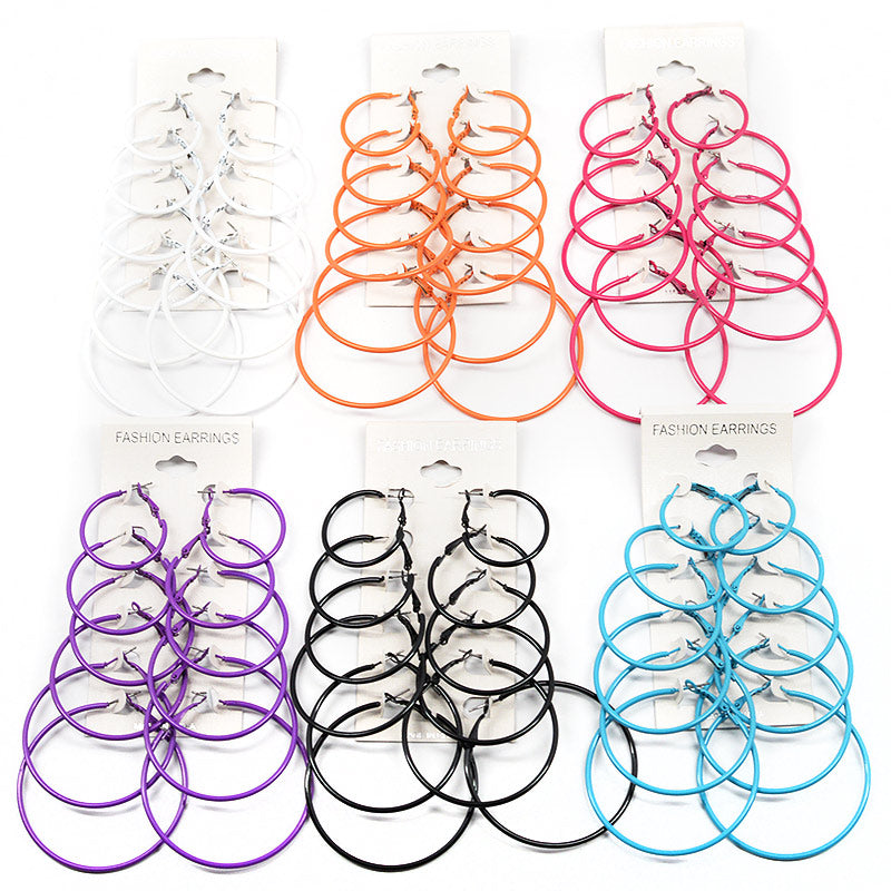 6-Pair Color Hoop Earrings (#2561)