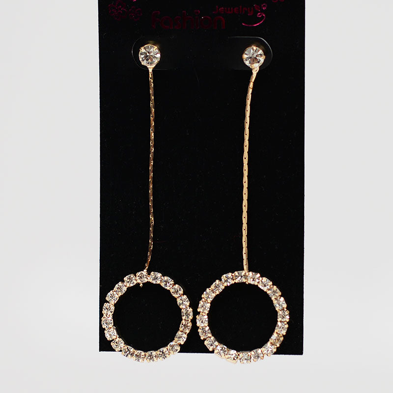 Rhinestone Circle On Chain Earrings