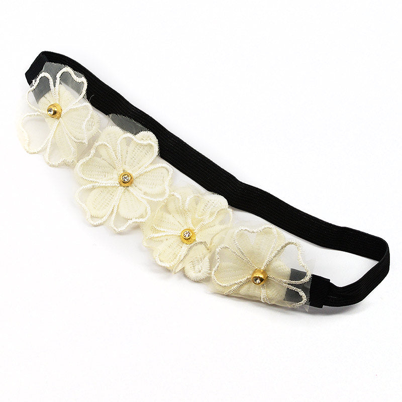 Lace Flowers Elastic Headband