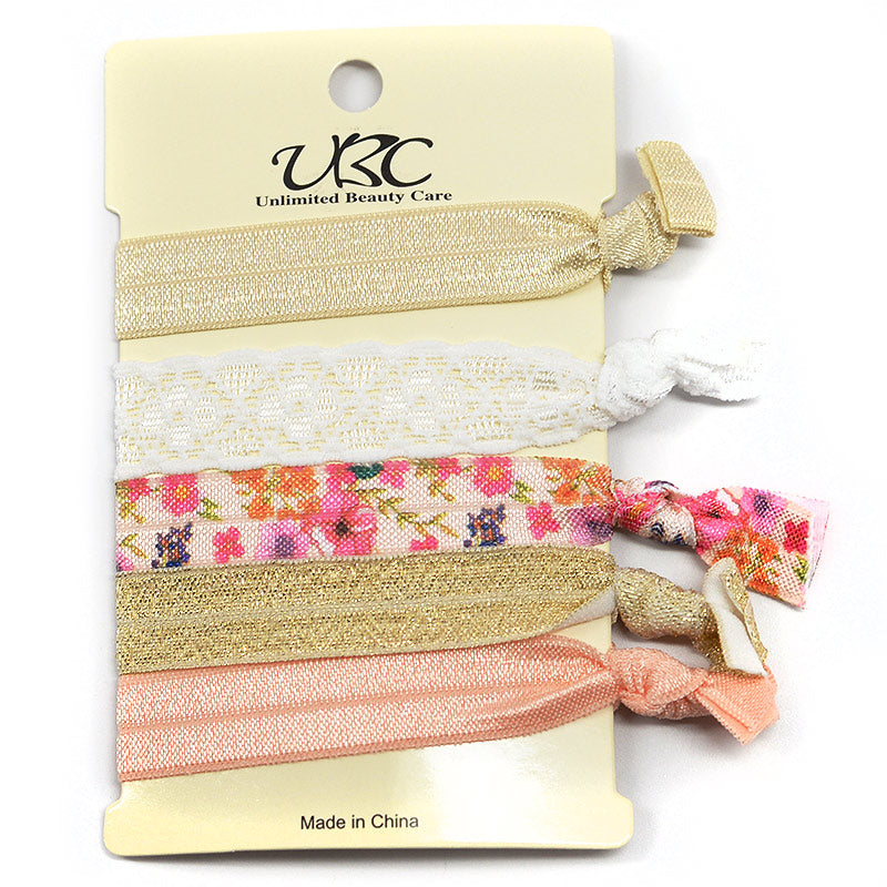 Elastic Ribbon Hair Ties - Assortment (5 Pcs)