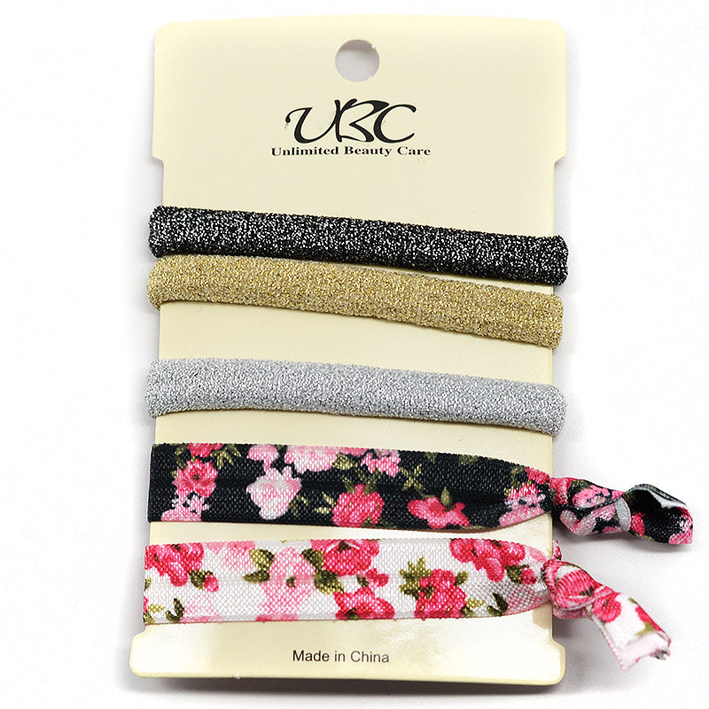Elastic Ribbon Hair Ties - Metallic Glitter and Flowers (Set of 5)