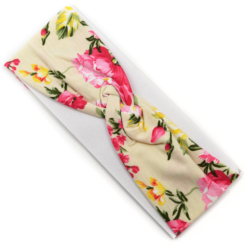 Elastic Cloth Cross Knot Headband - Flower Design
