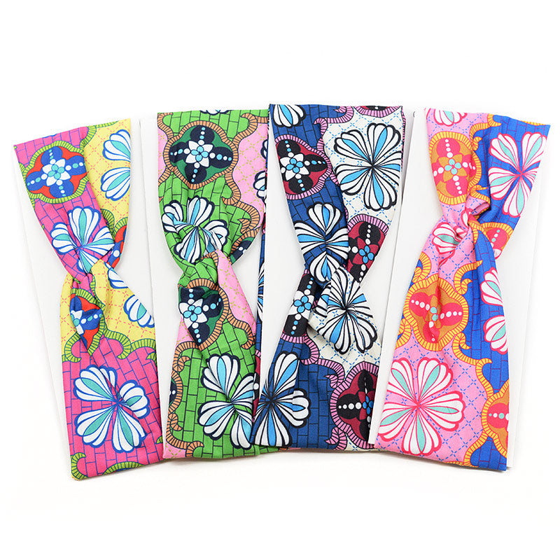 Elastic Cloth Cross Knot Headband - Groovy & Colorful
