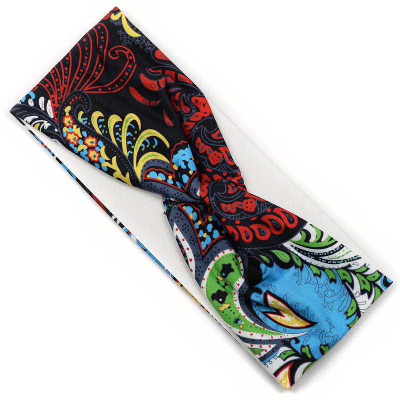 Elastic Cloth Cross Knot Headband - Colorful Paisley Design