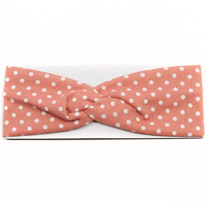 Elastic Cloth Cross Knot Headband - Polka Dot Design