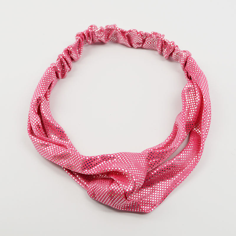 Chrome Polka Dot Elastic Crossed Headband