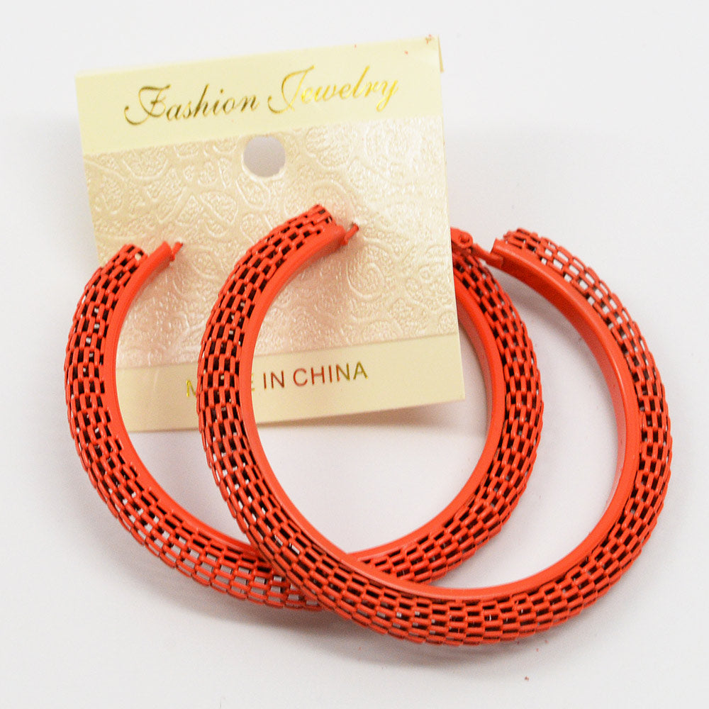 Colored Mesh Hoops Earrings (9 available colors) (#2562)