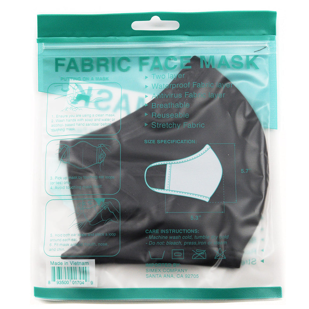 Cotton Fabric Face Mask Reusable - Black