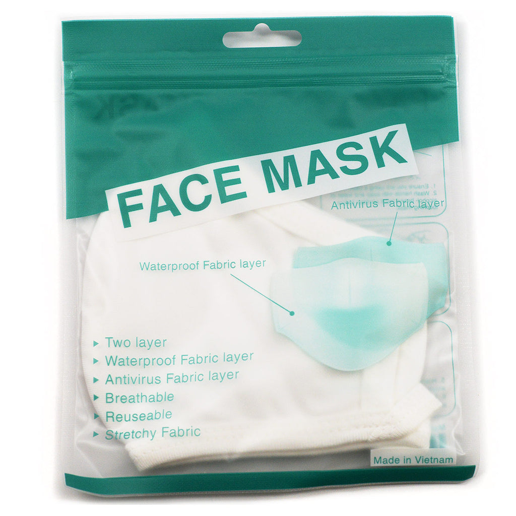 Cotton Fabric Face Mask Reusable - White