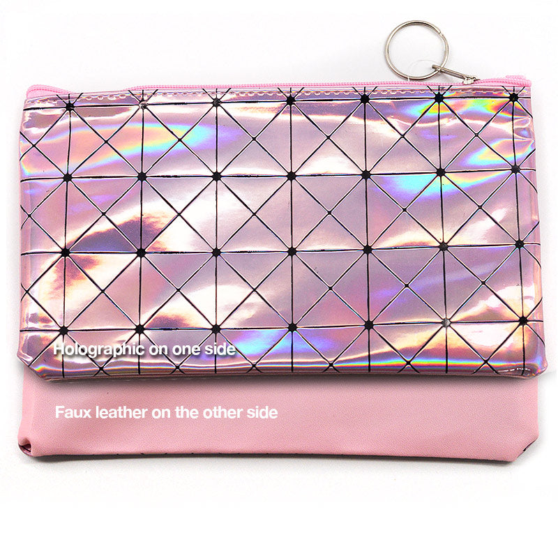 Geometric Holographic Cosmetic Bag Pouch