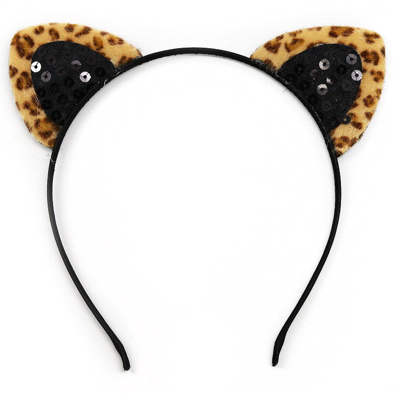 Leopard with Black Sequins Cat Ears Headband (1021)