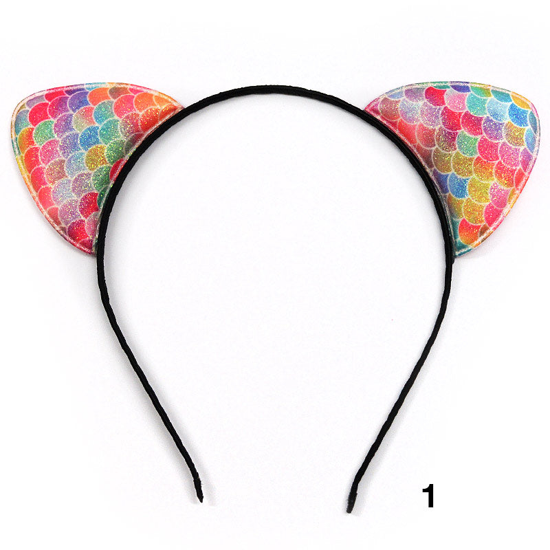 Mermaid Pattern Cat Ear Headbands (1022)