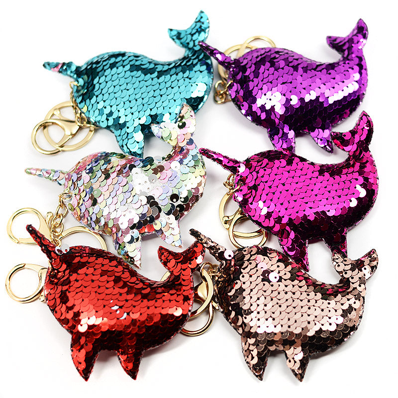 Narwhal Sequin Keychains