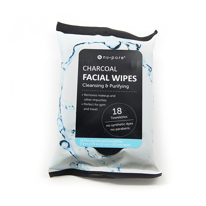 Nu Pore Charcoal Facial Wipes Cleansing and Purifying