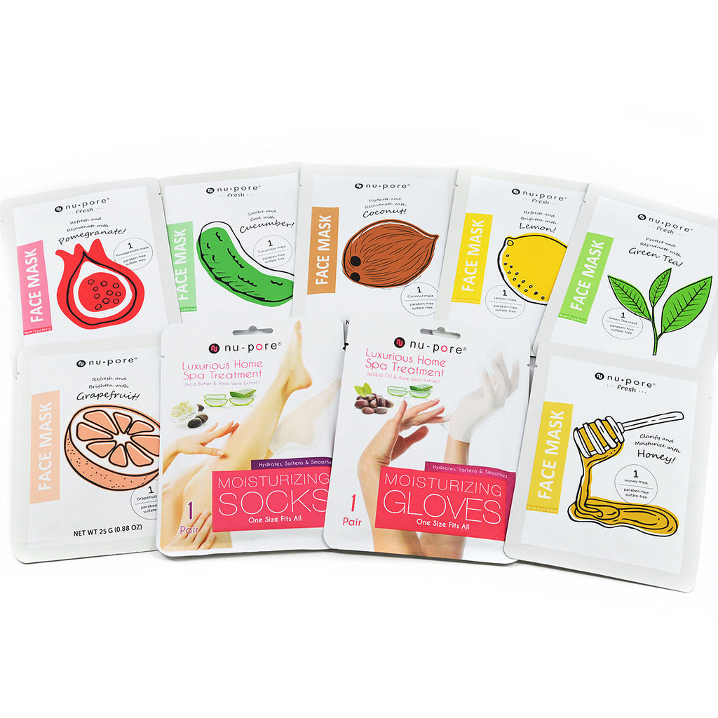 nu pore Facial Masks, Hydrating Gloves, Moisturizing Socks Variety Pack (9 Pcs)