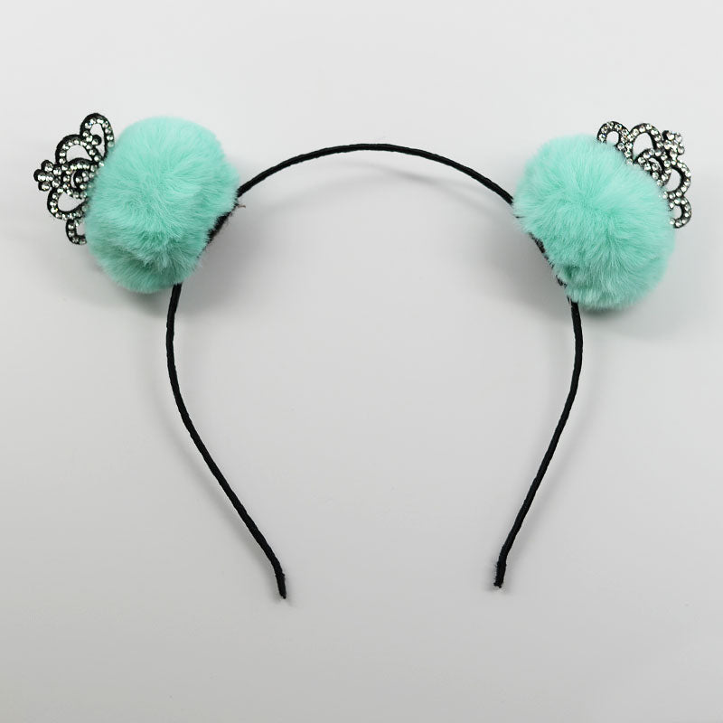 Pom Pom Rhinestone Crown Headband
