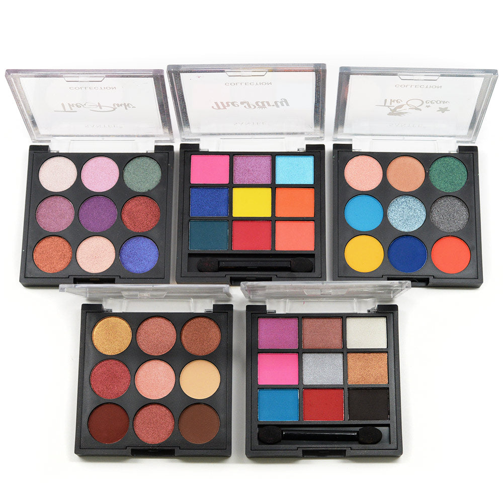Santee 9-Color Blush and Eyeshadow Palette Set (5 Pcs)