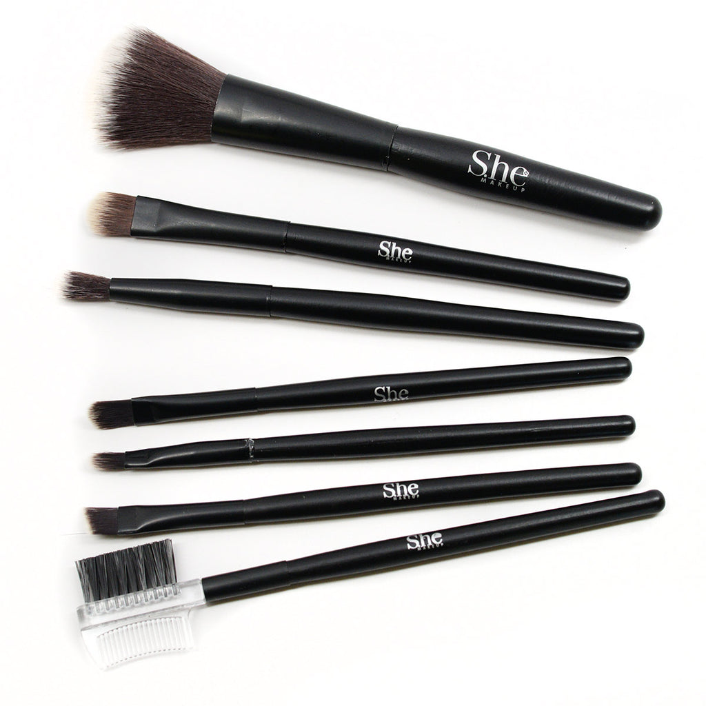S.he Makeup 7-Piece Travel Brush Set with Case (Black)