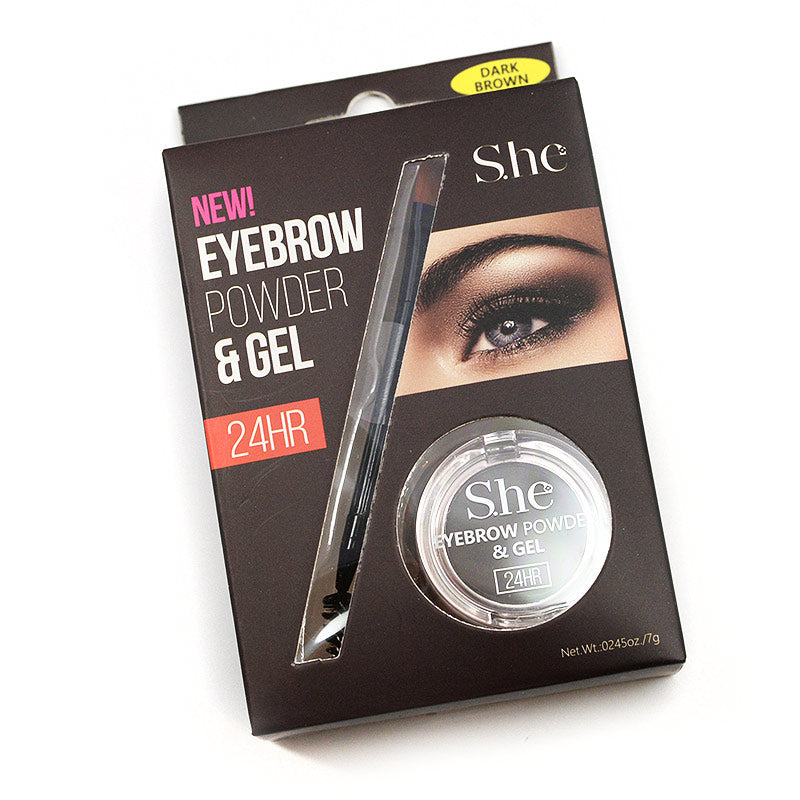 S.he Makeup Eyebrow Powder & Gel - Dark Brown