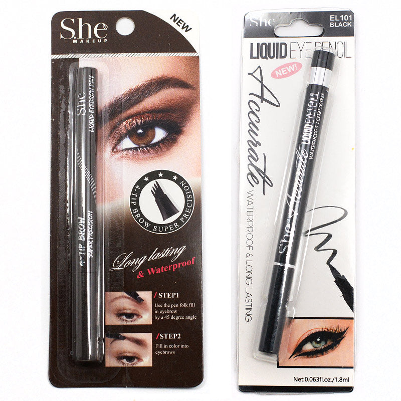 S.he Makeup 4-Tip Eyebrow Pen And Accurate Liquid Eye Pencil Set