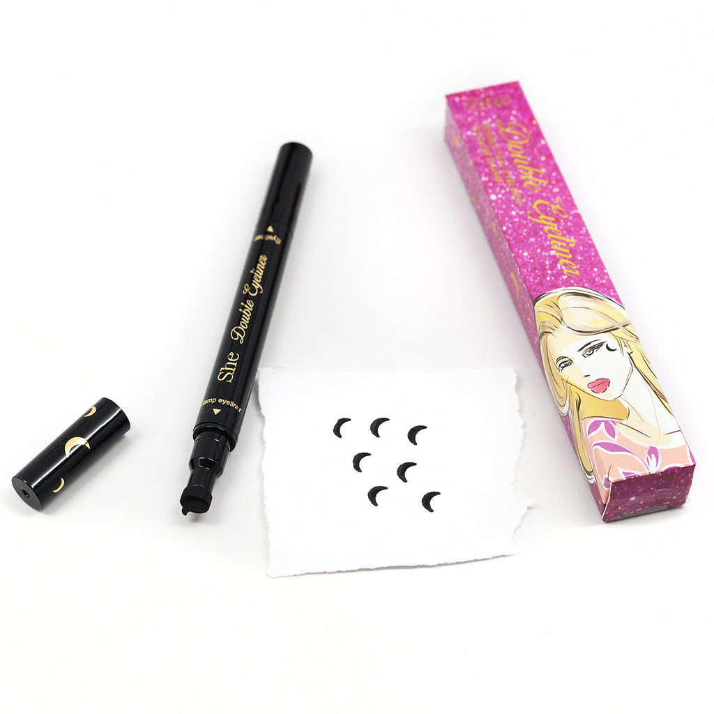 S.he Makeup Double Seal Liquid Eyeliner And Stamp - Moon