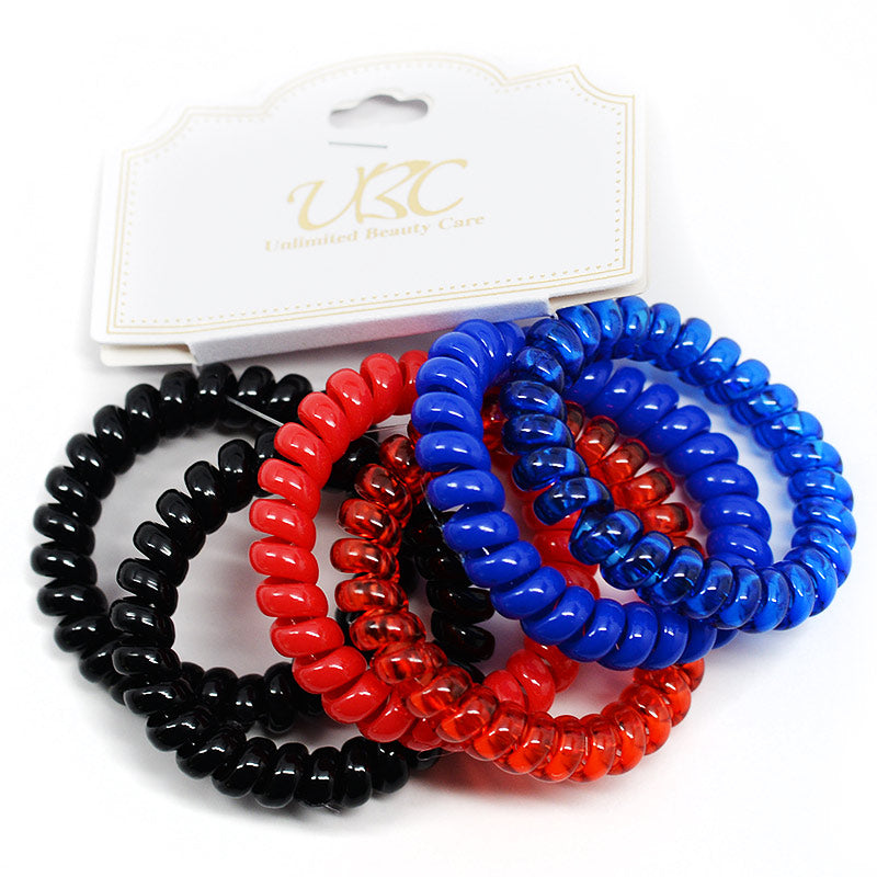 Spiral Telephone Cord Hair Ties - Black, Red, Blue (6 Pcs)