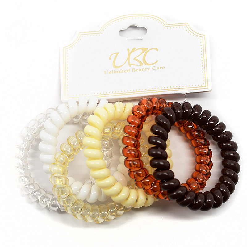Spiral Telephone Cord Hair Ties - Browns (6 Pcs)