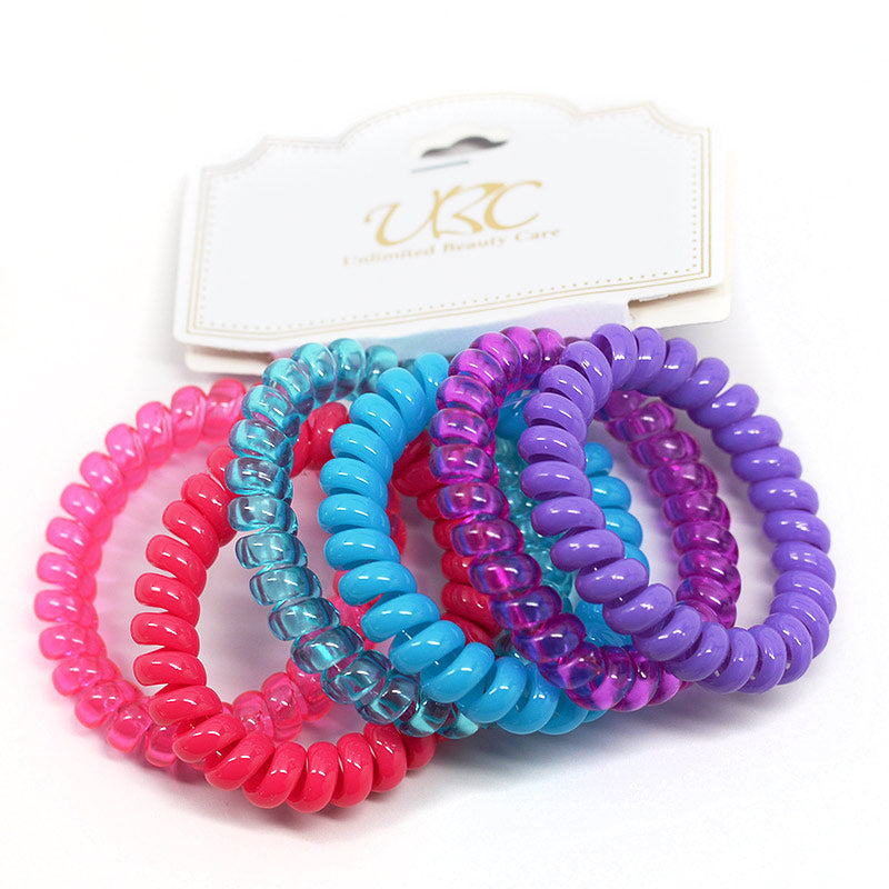 Spiral Telephone Cord Hair Ties - Pink, Blue, Purple (6 Pcs)