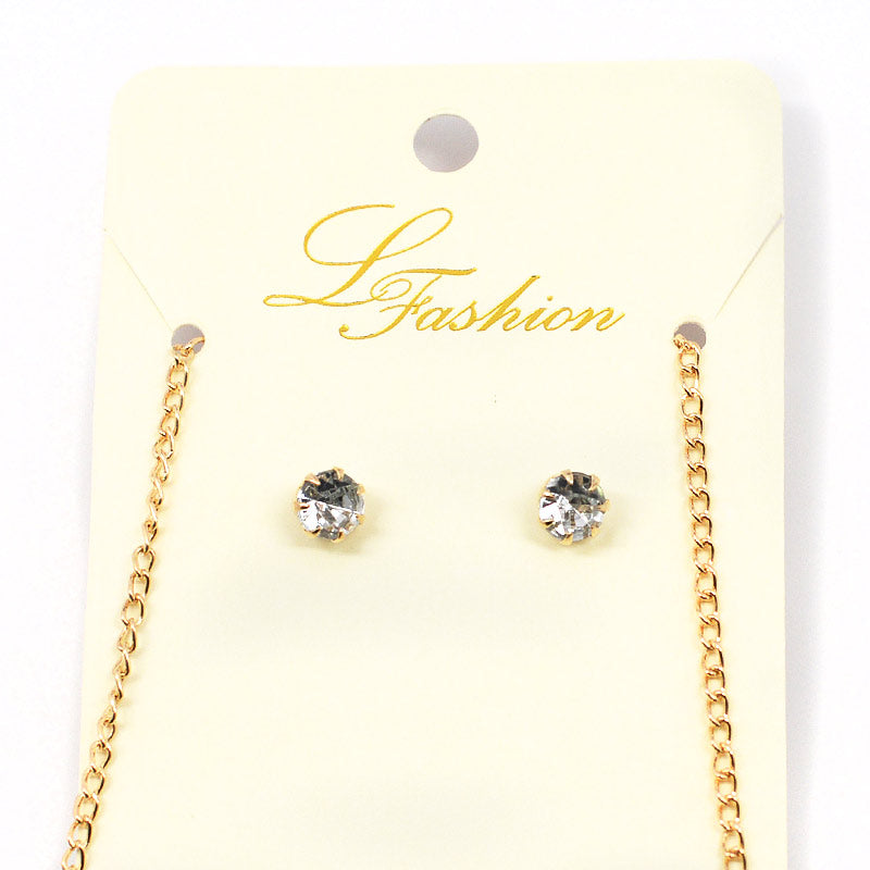 Faux Stone Necklace and Rhinestone Earrings (2529)