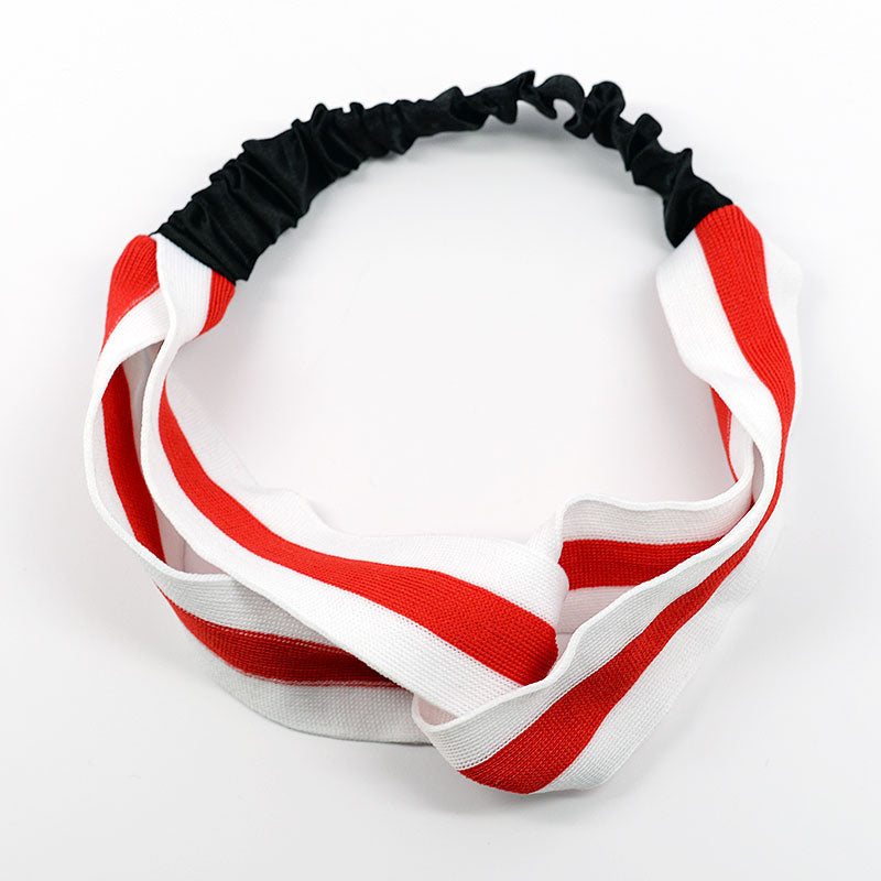 Red Striped Crossed Headbands