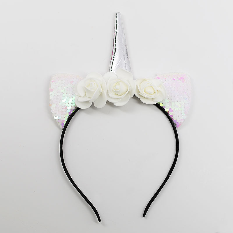 Unicorn Sequin Cat Ear Flower Headband