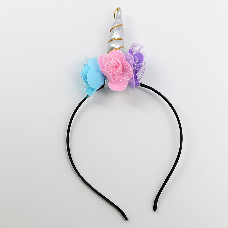 Unicorn Horn Flowers Headband