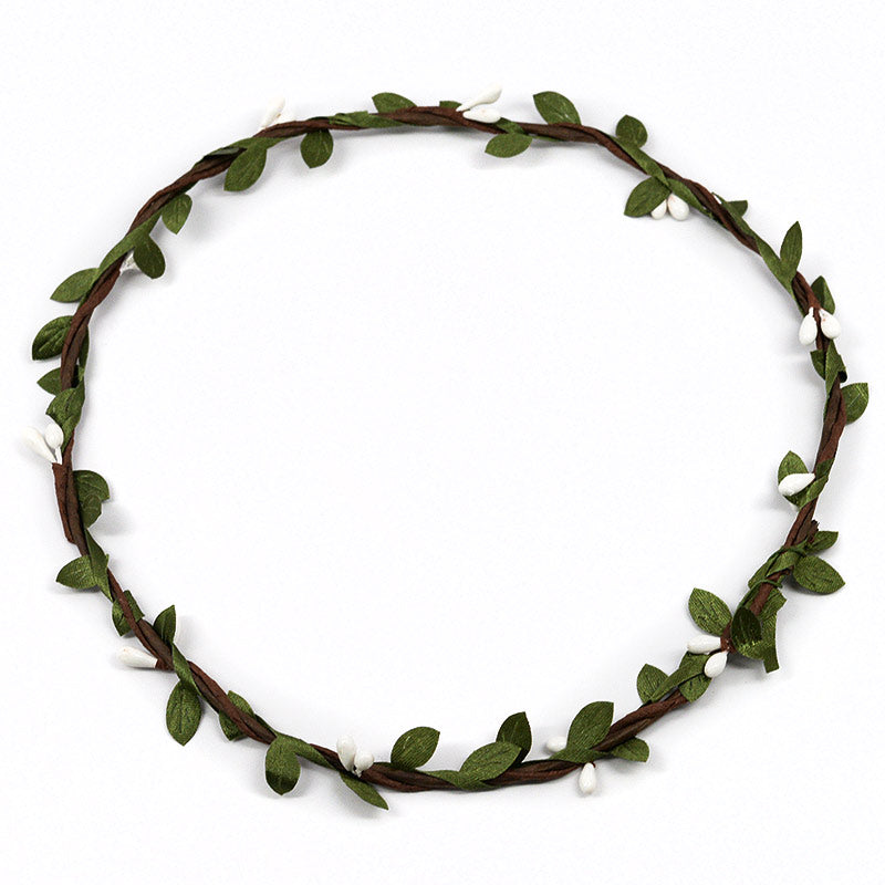 White Flower Buds On Vine Headband