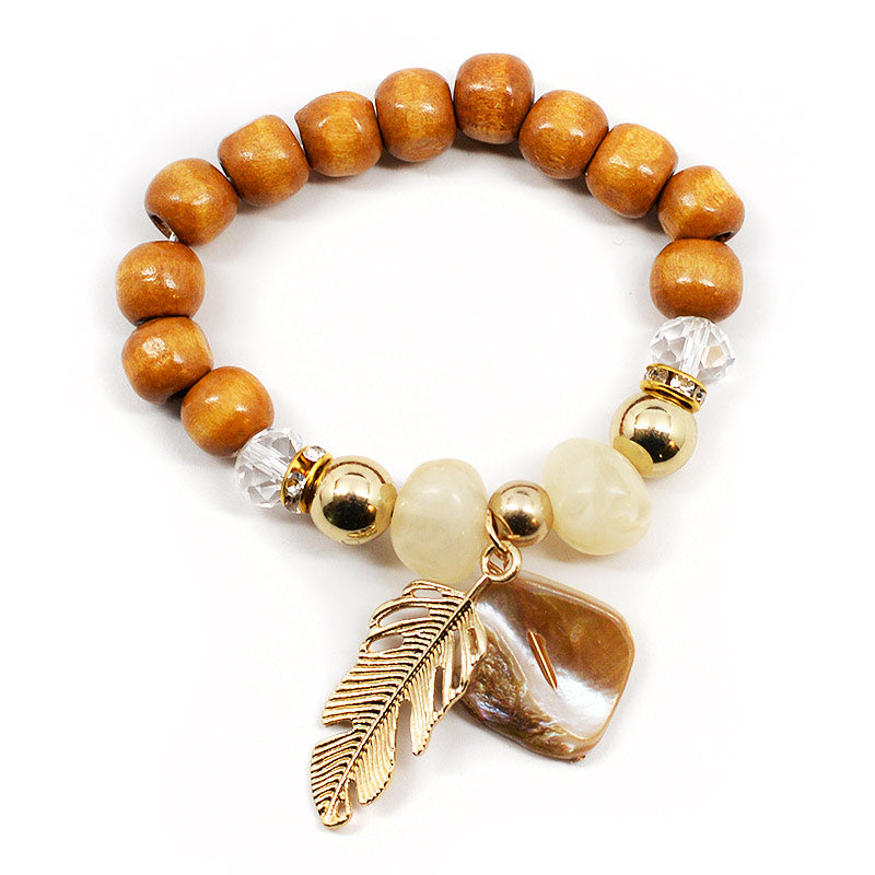 Wood Bead Bracelet With Feather Charm