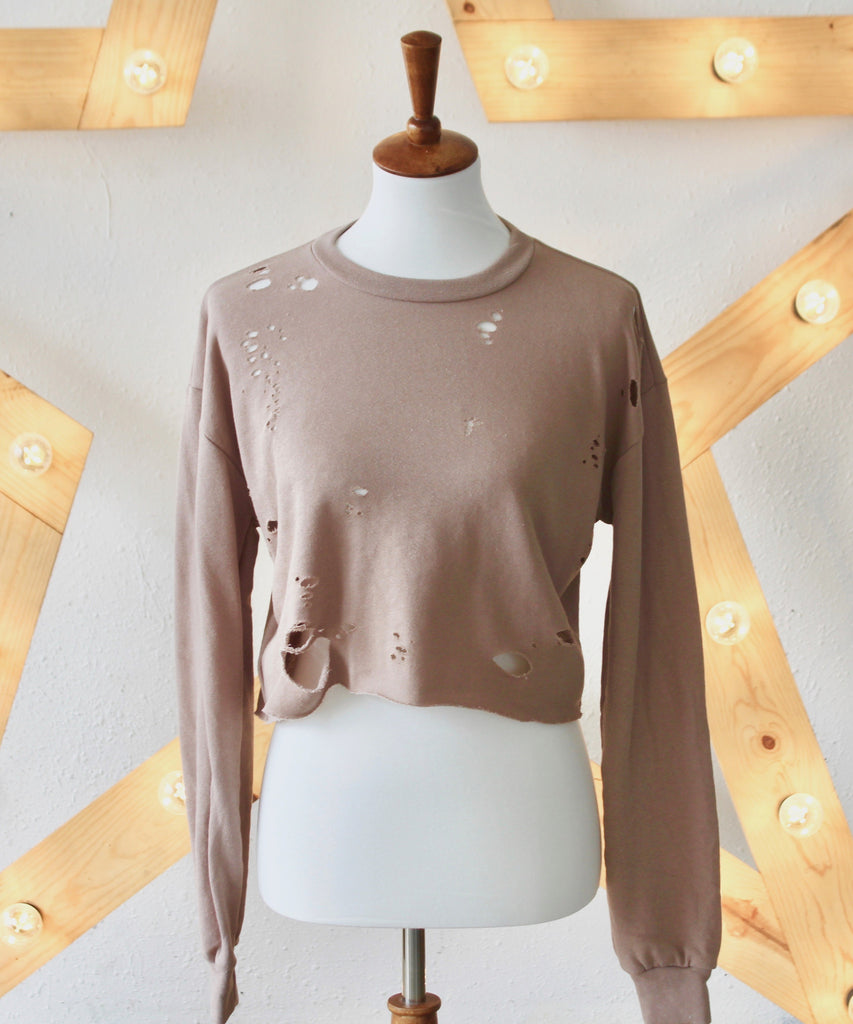 HOLY - Crop Long Sleeve Sweatshirt with Holes