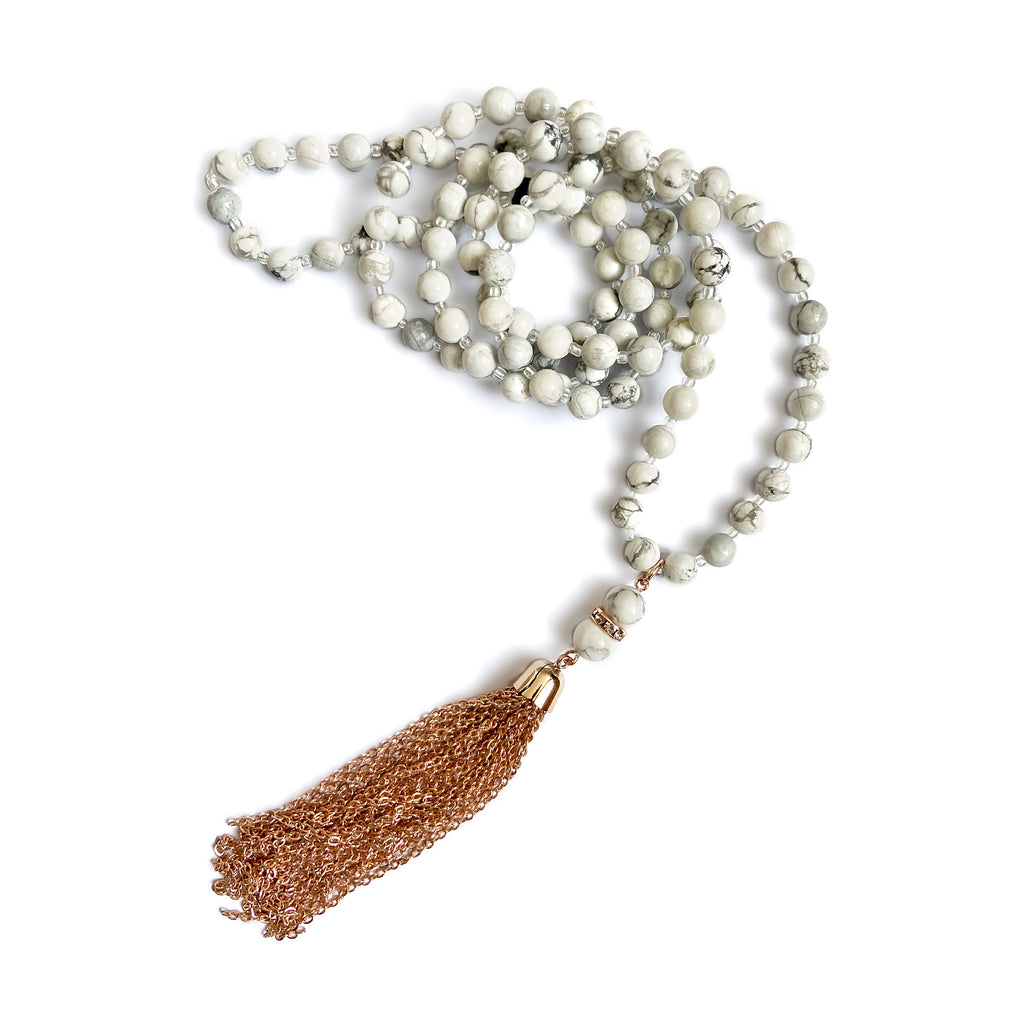 Mala Beads - Marble and Rose Gold