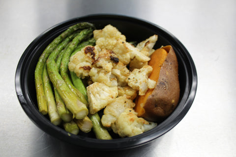 Baked Sweet Potato, Grilled asparagus & Roasted Szechuan Cauliflower  (Vegan)