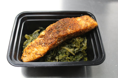 Roasted Blackened Salmon & Braised Kale