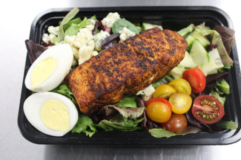 Blackened Salmon Salad-Spring Mix, Tomatoes, Cucumber, Blue Cheese & Boiled Egg (Lunch)