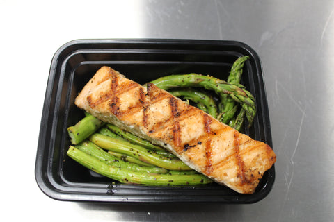 Grilled Salmon & Roasted Lemon Pepper Asparagus