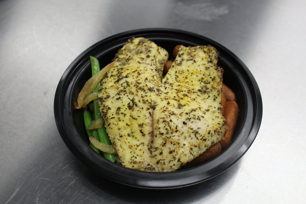 Lemon Herb Tilapia, Green Beans with Caramelized Onions and Honey Glazed Carrots (Lunch)