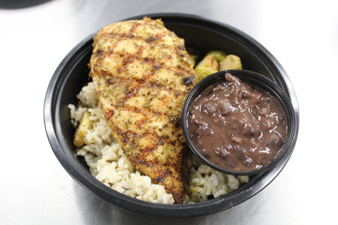 Grilled Chicken-Black Bean Sauce, Roasted Brussels Sprouts & Brown Rice (Lunch)