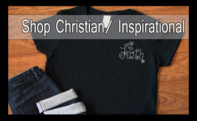 Shop Christian apparel.  Sparkly rhinestone Inspirational T-shirts, jackets, and tote bags.
