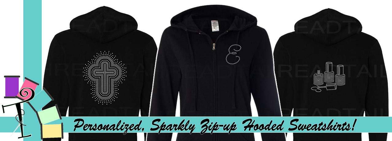 Personalized hooded sweatshirts with rhinestone bling.