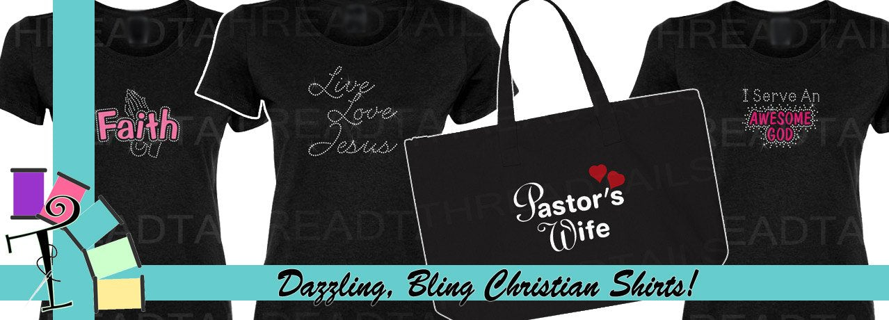 Rhinestone Christian Shirts and Totes by Threadtails