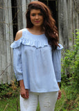 derby ready cold shoulder top - denim blue