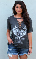 vintage inspired lace up tee - charcoal